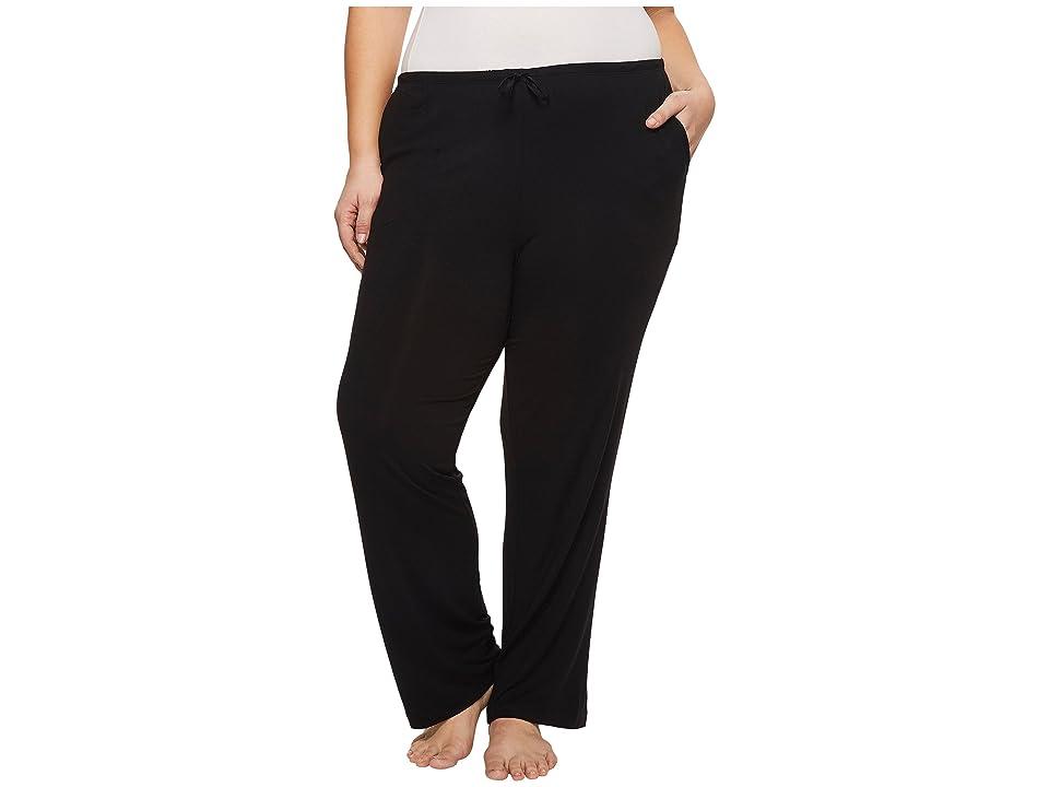 Donna Karan Plus Size Modal Spandex Jersey Long Pants (Black) Women