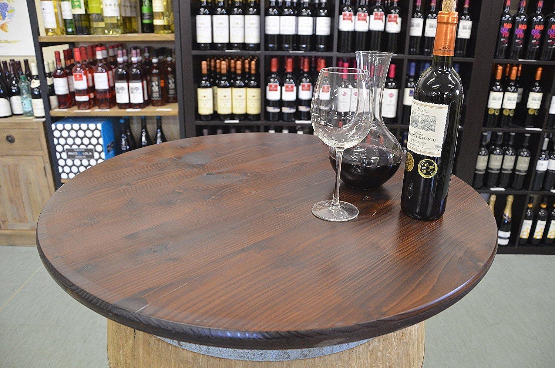 Temesso - Der besondere Garten Holz Tischplatte Nussbaumoptik D80 cm - 3fach verleimte Fichte (Nussbaum)- mit Bohrung