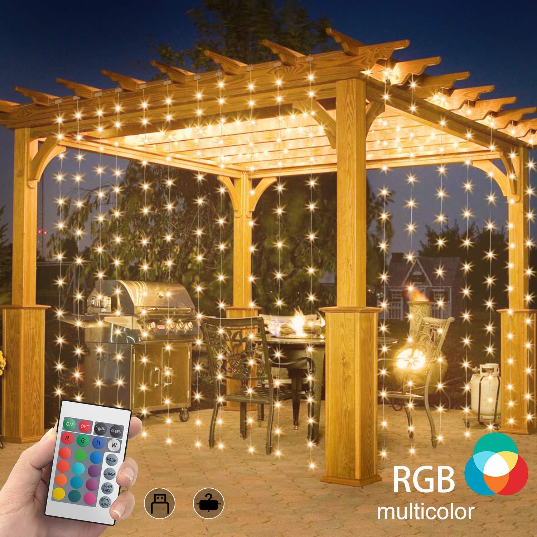 SYTUAM Cortina de Luces Navidad RGBW 3M * 3M USB Material PVC + Nylon, Cortina Luces Led Exterior impermeables suaves 4 modos Control remoto de velocidad y temporizador Al aire libre Interior: