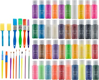 Kids Tempera Paint Set   Value Pack Includes 40 Washable Non-Toxic Colorful Paints (2oz bottles) & 15 Brushes   Metallic, ...
