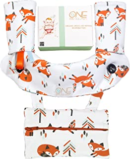 Drool and Teething Pad Sets for Baby Carriers - Reversible Cotton Bibs, Extra Pocket- Highly Absorbent Pads, Bonus Bandana Bib