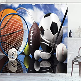 Ambesonne Sports Decor Collection, Sports Equipment Football Soccer Darts Ice Hockey Baseball Basketball Image Print, Polyester Fabric Bathroom Shower Curtain, 75 Inches Long, Black Orange Blue