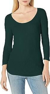 Three Dots Women's Fireside Thermal Scoop Tee Tight Short Shirt