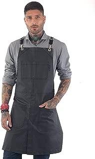 Under NY Sky Cross-Back Black Apron – Chrome Hardware, Coated Denim, Leather Reinforcement, Split-Leg – Adjustable for Men, Women, Pro Barber, Tattoo, Hair Stylist, Barista, Bartender, Server Aprons