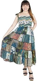 Lofbaz Women's Patchwork Dress Soft Lightweight Rayon Comfortable Summer Dresses