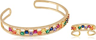 Red Trees Cubic Zirconia Adjustable Bangle and Ring Set, 18ct Gold Plated
