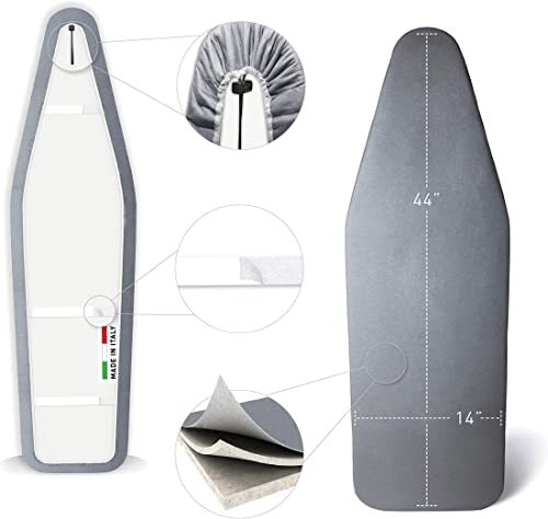 TIVIT Ironing Board Cover 14 x 44 Pro Grip Pad Covers w/3 Fastener Straps & Pull Bungee Cord - Durable Scorch & Stain...