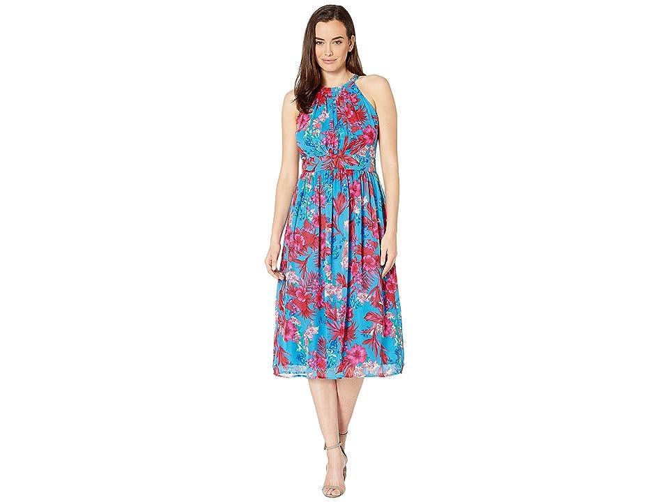 Nine West Pleated Bodice with Shirring at Waist Midi Dress (Honolulu/Apple Multi) Women