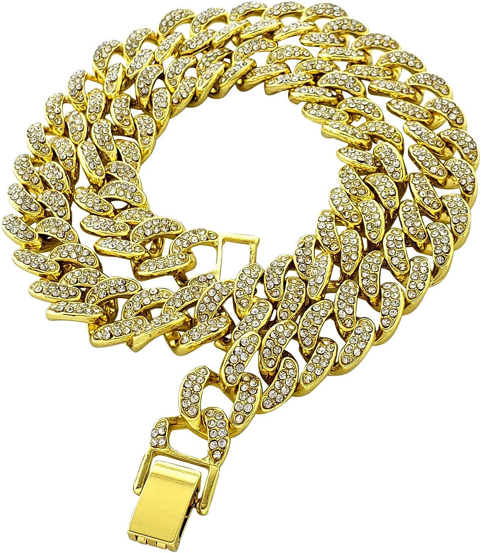 Exo Jewel Micropave Award CZ Diamond Link Max 53% OFF 14mm Chain Necklace Cuban