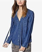 Sanctuary   Cotton Tie-neck Denim Shirt   Audrey Wash
