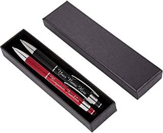 Personalized Pens Gift Set - 2 Pack of Metal Pens w/gift box - Luxury Ballpoint Pen Custom Engraved with Name, Logo or Message for Executive, Business or Personal use (Black-Red)