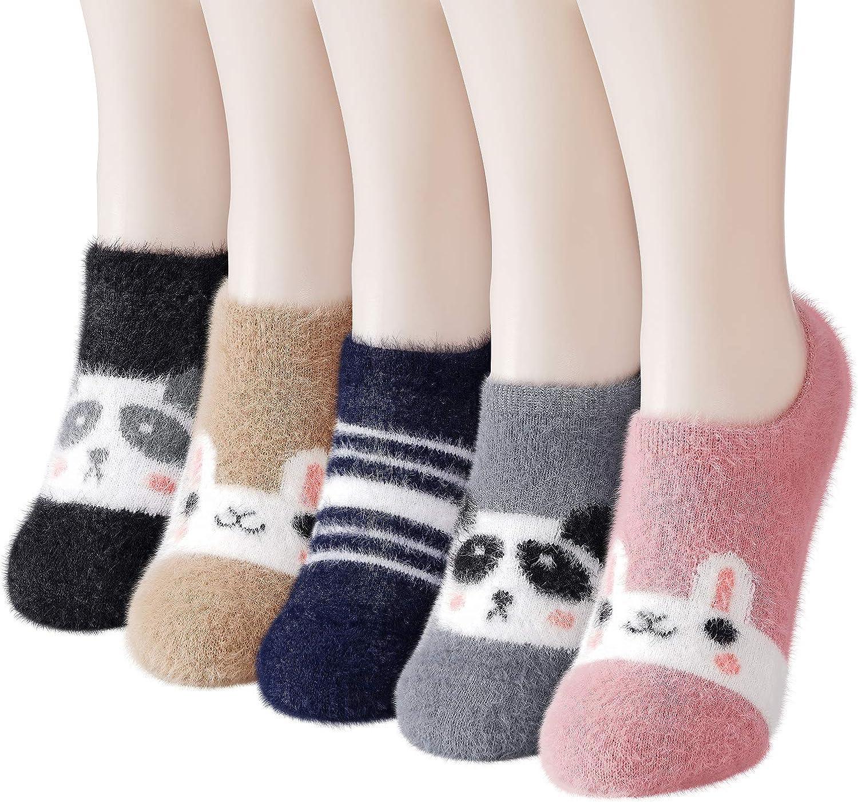 Slipper Socks for Women Anti-Slip 5 pairs Super Soft Warm Cozy with Cute Animal Low Cut Winter Fluffy Fuzzy