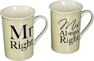 The Leonardo Collection LP33186 (Set of Two) Mr. Right and Mrs. Always Right Mugs Fine China Gift Set, White