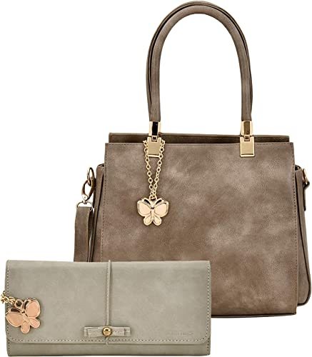 Women Hand Bag With Wallet Combo Grey BNS WB0732 Set of 2