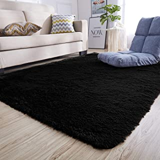 Junovo Rectangle Ultra Soft Area Rugs Fluffy Carpets for Bedroom Living Room Shaggy Floor Rug Home Decor Mats, 5.3 x 7.5ft, Black