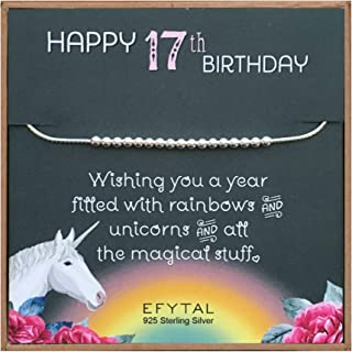 EFYTAL 17th Birthday Gifts for Girls, 925 Sterling Silver Bracelet on Unicorn Card, 17 Beads for 17 Year Old Girl, Jewelry Gift Idea for Daughter or Niece