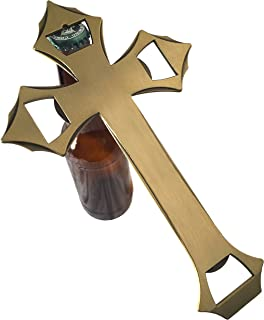 Cross Beer Bottle and Can Opener by Chelabre | Unique, Heavy, and Wall Hanging Novelty Church Key