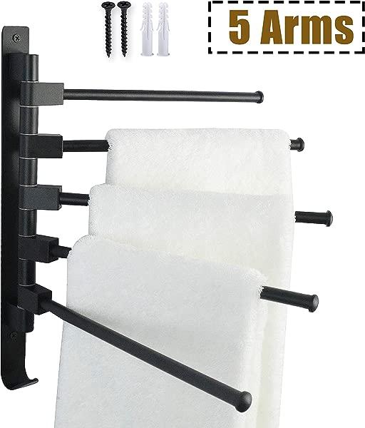 OVOV 旋转手臂毛巾架支架壁挂式铝合金浴室毛巾杆带挂钩和螺钉 5bar 12 6