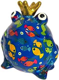 Pomme Pidou Skarbonka żaba król niebieski z rybami prezent pieniężny