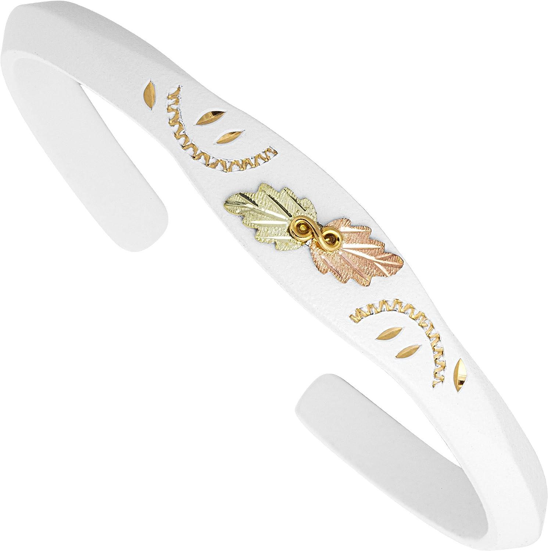Landstroms White Powder Coat Black Hills Cuff Bracelet with 10K Gold Trim