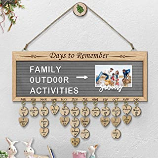 ElekFX Birthday Calendar Wall Hanging Felt Letter Board Message Sign Wall Hanging Wood Family Birthday Reminder Wall Plaque Changeable Message Board for Birthday Gift Home Bar School Decor