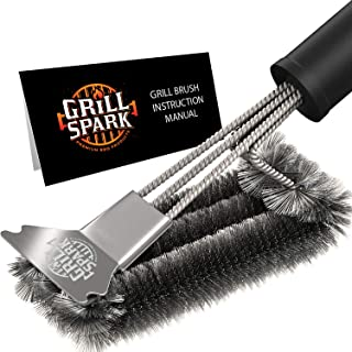 Grill Spark Grill Brush and Scraper 18 Inch   Stainless Steel Wire Bristles Brush  ..