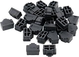 iExcell 50 Pcs Black Ethernet Hub Port RJ45 Anti Dust Cover Cap Protector Plug