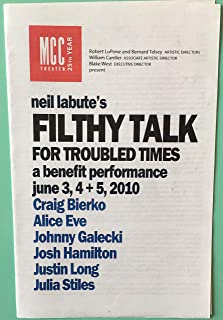 Brand New Color Playbill /Program from the Benefit Performances of Filthy Talk for Troubled Times starring Johnny Galecki,...