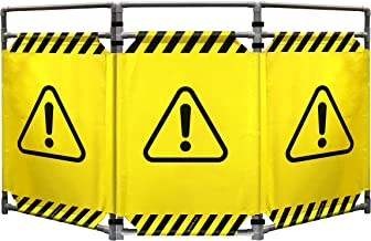 Safety Barricade, High Visibility 3 Panel Portable Safety Barrier with PVC Frame, Foldable, Lightweight, and Durable, Caution Symbol