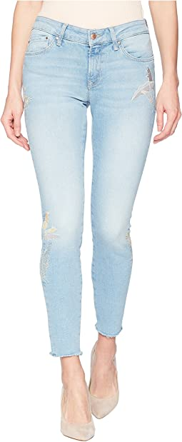 Mavi Jeans Adriana Midrise Skinny Ankle in Light Palm Embroidery