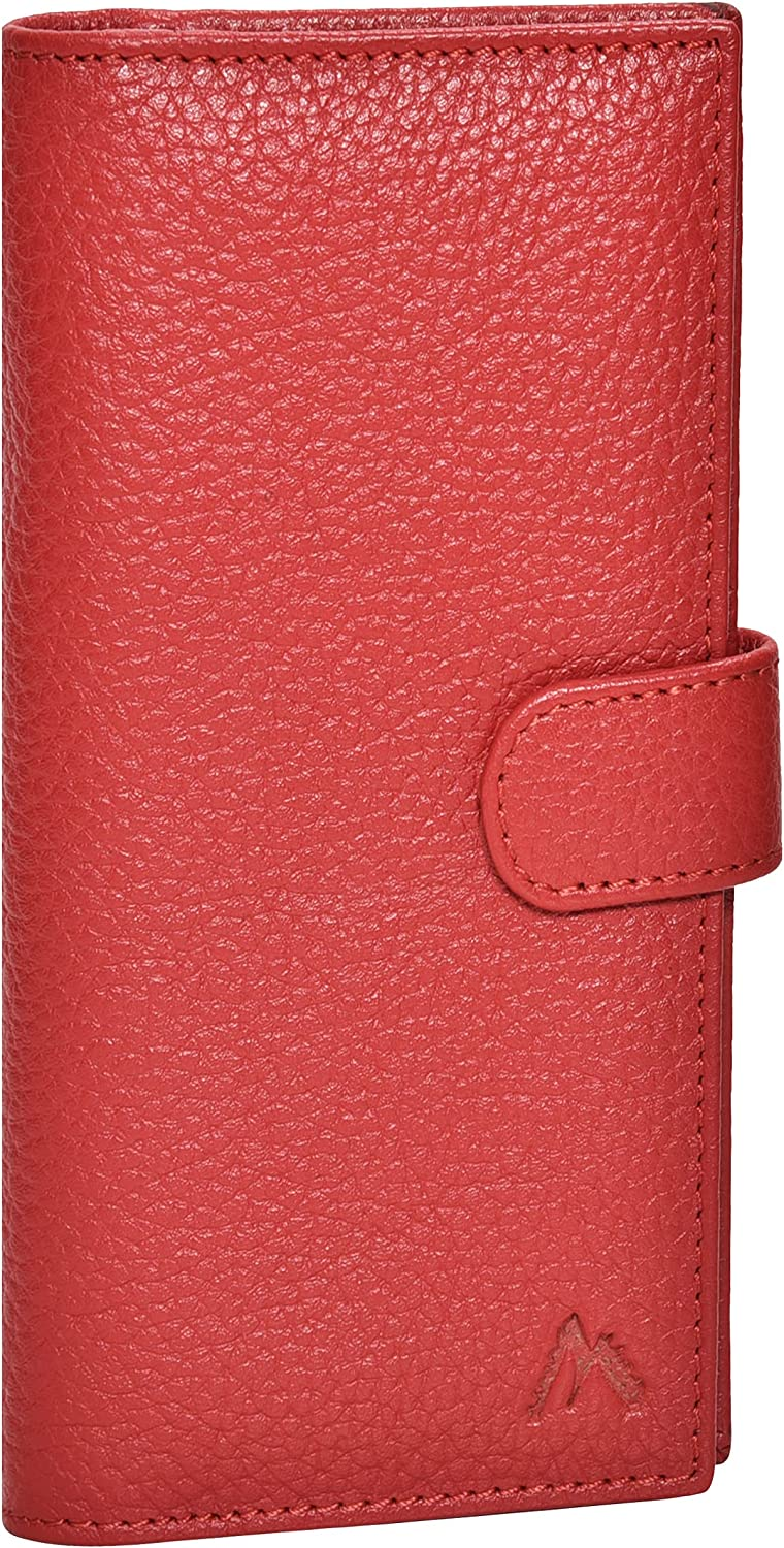 Red Leather Checkbook Cover for Men & Women- RFID Wallets 6 Credit Cards 1 ID: Clothing