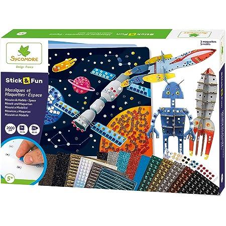SYCOMORE-CRE7021 Mosaïques Autocollantes Enfants-3 Tableaux et 3 maquettes animés-Espace-Loisir créatif-Stick & Fun-Dès 5 ans-Sycomore-CRE7021, CRE7021