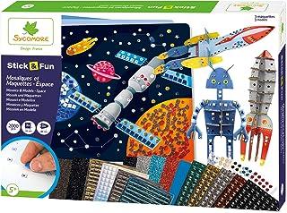 SYCOMORE-CRE7021 Mosaïques Autocollantes Enfants-3 Tableaux et 3 maquettes animés-Espace-Loisir créatif-Stick & Fun-Dès 5 ...