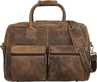 "STILORD Ben"" Vintage Businesstasche Leder groß Unisex Umhängetasche 15,6 Zoll Laptop College Bag Aktentasche Uni echtes Rindsleder"