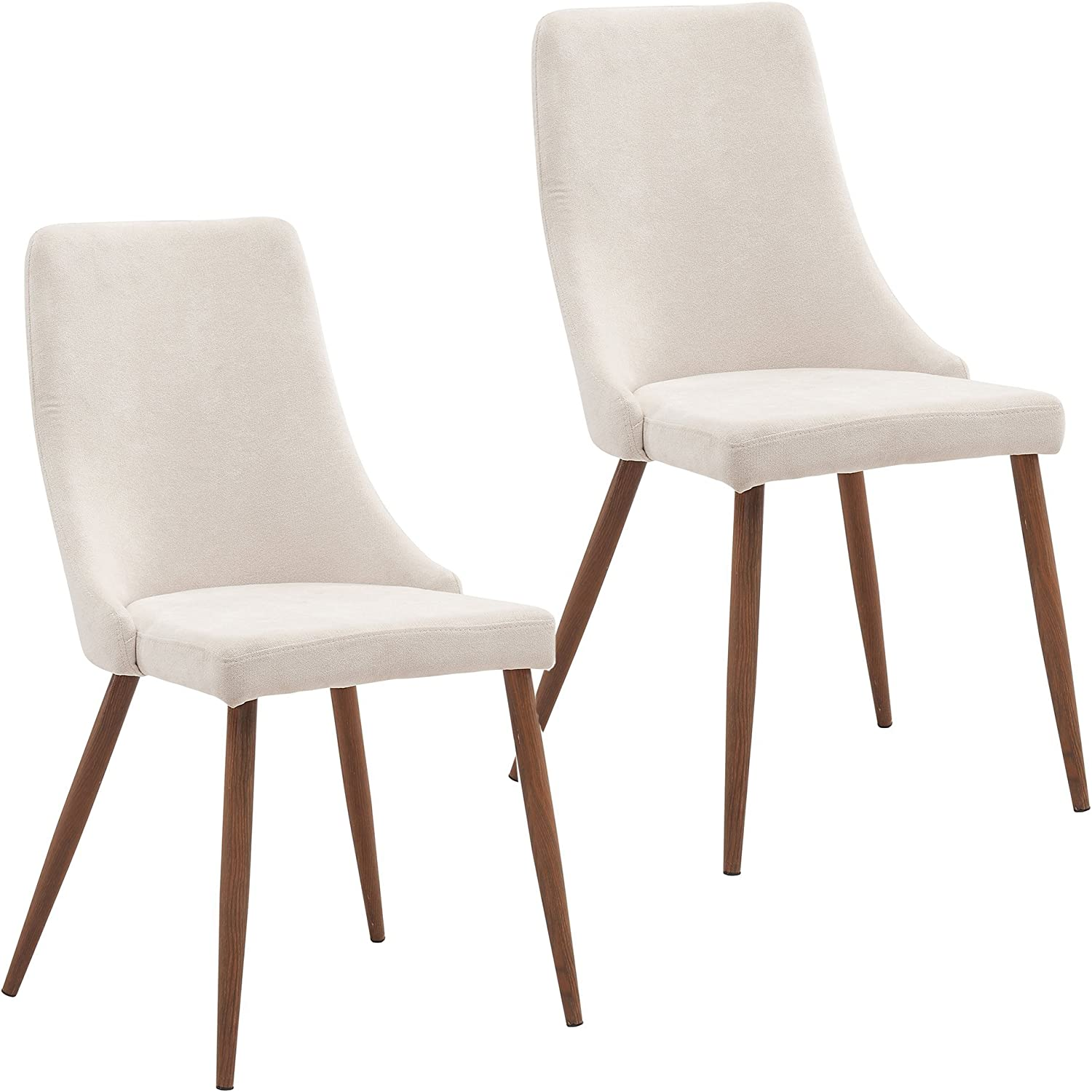 Mila (Set of 2) Fabric and Metal, Mid Century Chair in Beige