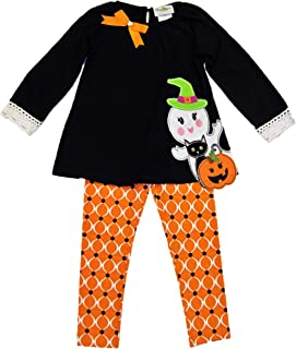 Rare Editions Girls' Two Piece Halloween Outfit F731837, Black Top with Ghost, Jack'O Lantern and Black Cat, Sz 5