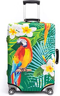 Periea Premium 3mm Elasticated Suitcase Luggage Cover - 38 Different Designs - Small, Medium or Large (Tropical Parrot, Large)
