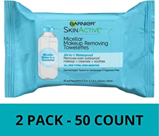 Garnier SkinActive Micellar Makeup Removing Towelettes, For Waterproof Makeup, 25 Count, 2 Pack