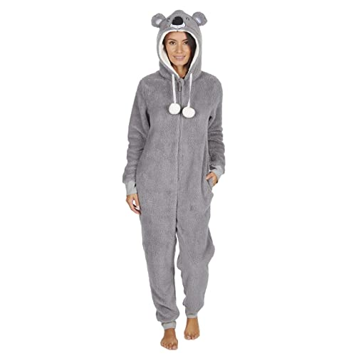 Ladies Womens Snug Onesie Adult All in One Fleece Zip Jumpsuit Pyjamas  Nightwear f33f9a64d