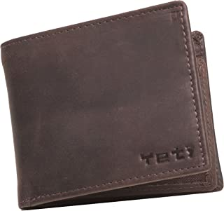 Mens Leather Wallet Bifold with Change Purse and ID Holder (Burnished Brown)