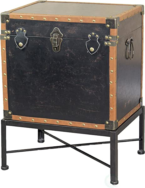 Vintiquewise QI003273L Faux Leather Trimmed Square Storage Trunk End Table On Metal Stand