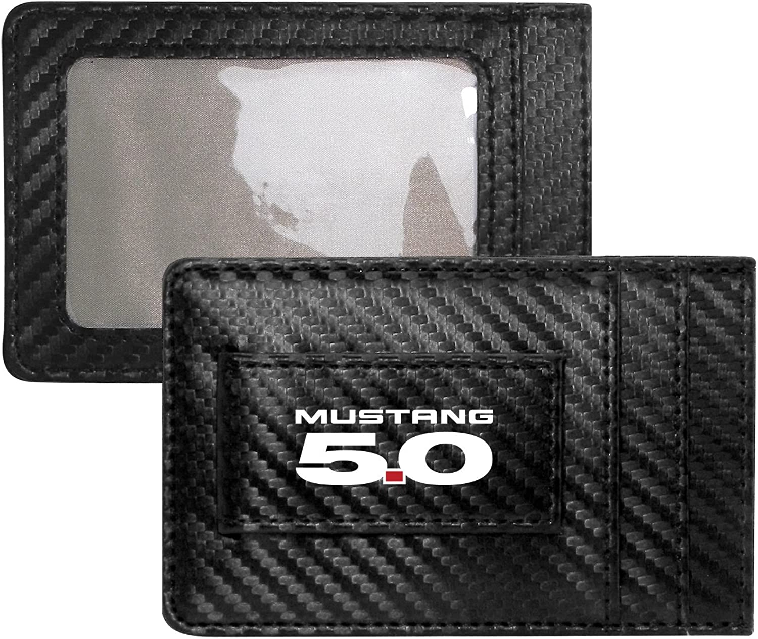 Ford Mustang 5.0 Carbon Fiber Style Minimalist Leather Slim Wallet RFID Block with Money Clip