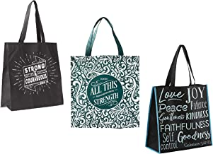 3 Religious Themed Inspirational Christian Tote Bags for Women | Joshua Verse, Philippians Verse, Fruit Of The Spirit Them...