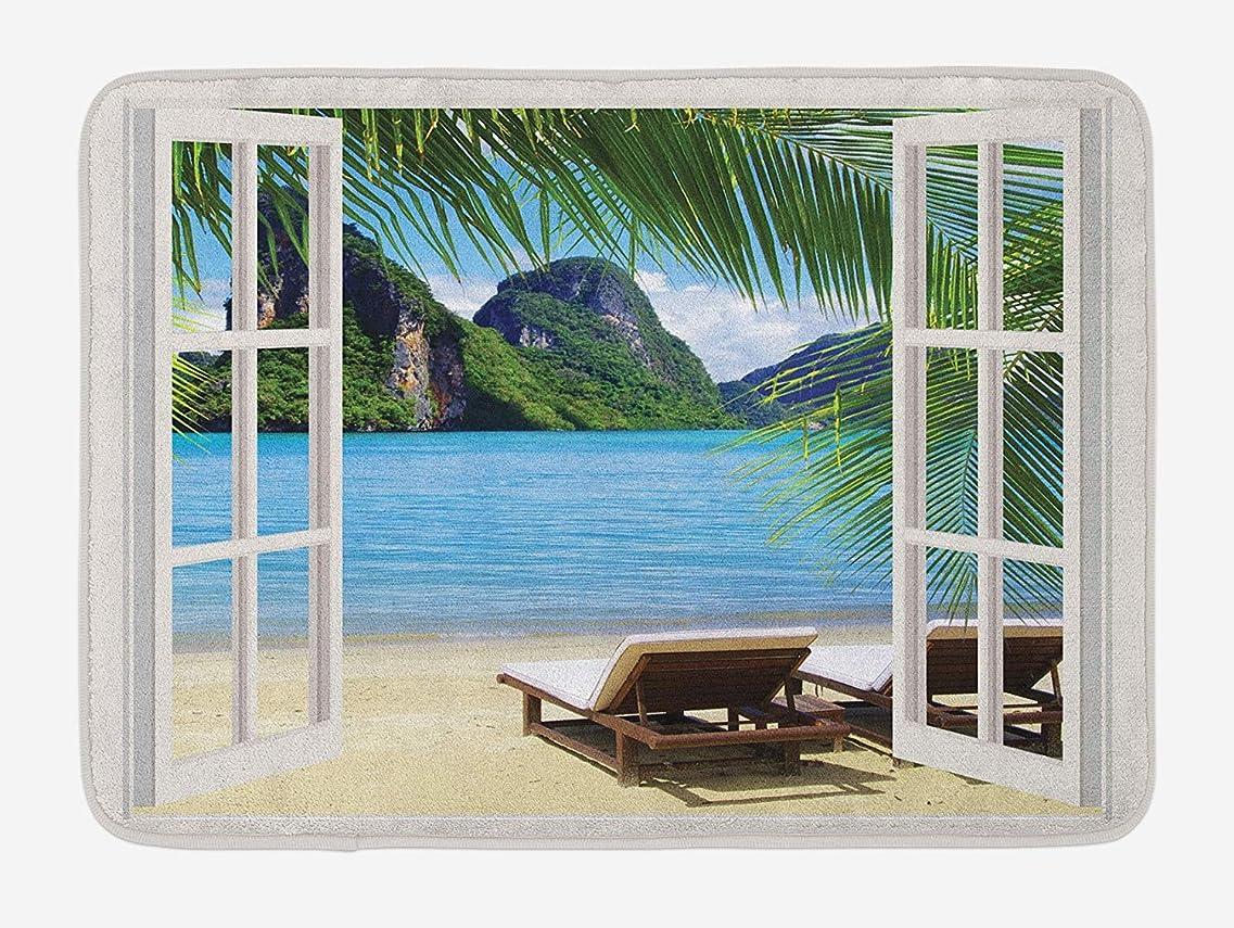 カラスナチュラビジュアルAmxxy 海の楽園のバルコニーでヤシの木のサンベッド白い滑り止めバスマットドアマットフランネル素材屋外ドア装飾ルームホテルのバスルームのリビングルームの寝室のキッチンに適した