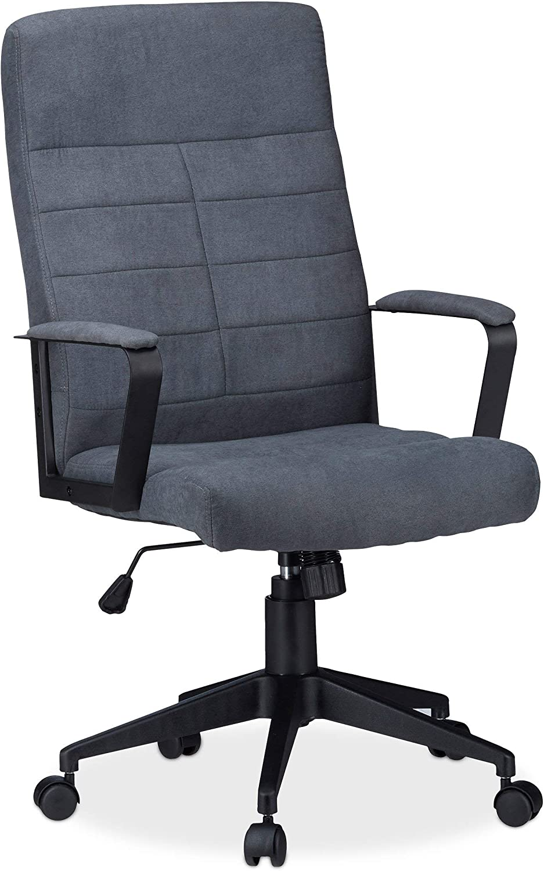 Relaxdays Bürostuhl, hhenverstellbarer Drehstuhl, ergonomisch, bequem, 120 kg belastbar, HxBxT  116 x 62 x 62 cm, grau