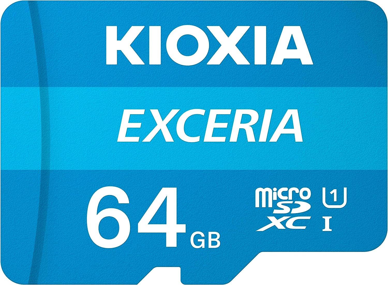 Kioxia 64GB microSD Exceria Flash Memory Card w/Adapter U1 R100 C10 Full HD High Read Speed 100MB/s LMEX1L064GG2