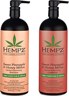 Hempz Sweet Pineapple and Honey Melon Herbal Volumizing Shampoo & Conditioner Set, 33.8 oz. - Natural Thickening, Restorat...