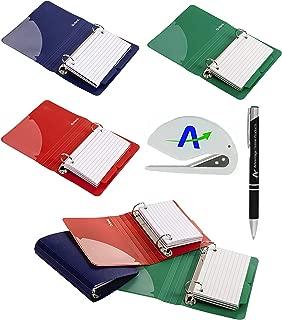 6 件装牛津聚乙烯索引卡活页夹,7.62 x 12.70 cm,每张活页包含 50 张预打孔卡片 (73569) 加上附加 AdvantageOP 定制笔和开写笔