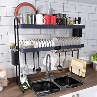 JASIWAY Over The Sink Dish Drying Rack Adjustable (27.5`` - 33.5``), Stainless Steel 2-Tier Expandable Over The Sink Dish ...