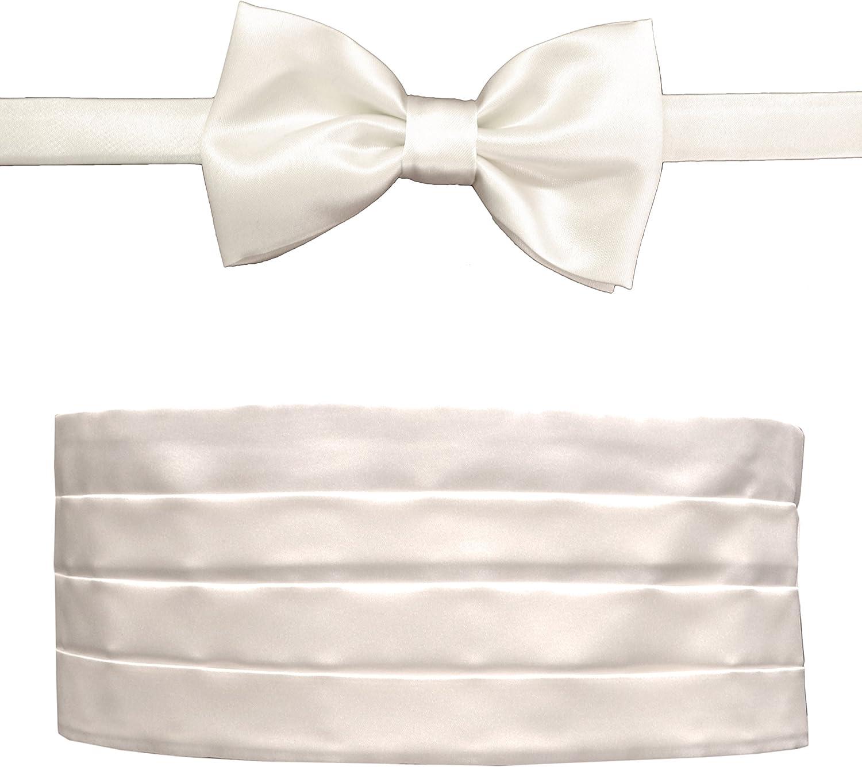 Remo Sartori Made in Italy Men's Off White Cummerbund Tuxedo Belt & BowTie Set, Silk